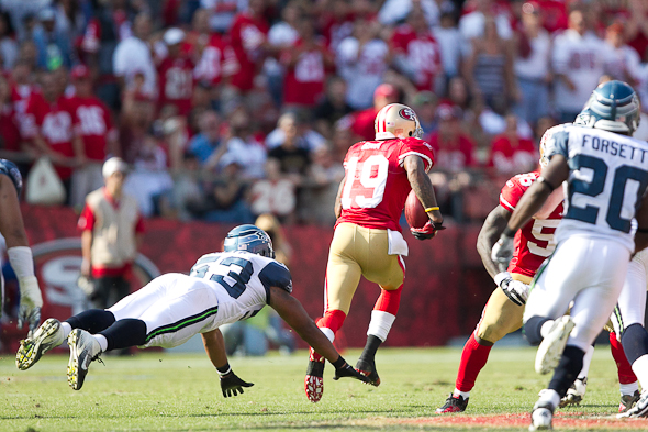 WR Ted Ginn Jr. has been a special teams weapon for the 49ers against Seattle. / Drew McKenzie, Sportspress Northwest