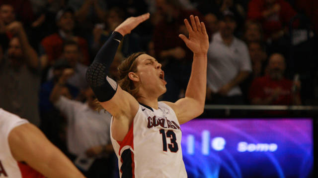 Gonzaga center Kelly Olynyk was named one of 30 finalists for the Naismith Award given to the nation's top college player. / Gonzaga University