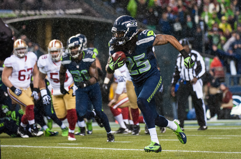 Flashback: Richard Sherman runs back a David Akers field goal blocked by Red Bryant 90 yards for a touchdown in the Seahawks' 42-13 rout of the San Francisco 49ers Dec. 23 at the Clink. / Rod Mar, Seahawks