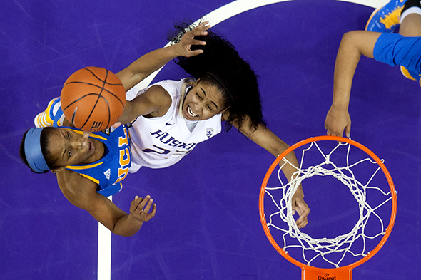 Aminah Williams and her University of Washington teammates will attempt to get back on track Thursday as KeyArena hosts for the first time the Pac-12 Conference tournament. / Scott Eklund, Red Box Pictiures