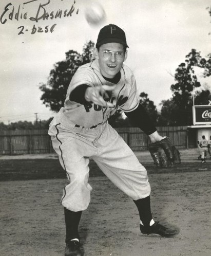 Eddie spent the majority of his Pacific Coast League career with the Portland Beavers. In 1955, he received he most votes on Portland's all-time team. / David Eskenazi Collection