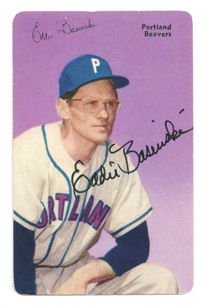 This is Basinski's autographed 1952 Mothers Cookies baseball card. Basinski . . . / David Eskenazi Collection