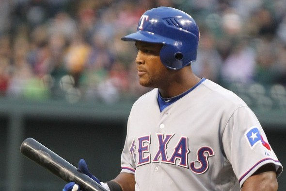 Former Mariner third baseman Adrian Beltre is hitting just .188 so far, but has a x batting average during this three seasons with the Texas Rangers, who launch a four-game series with Seattle Thursday. / Wiki Commons