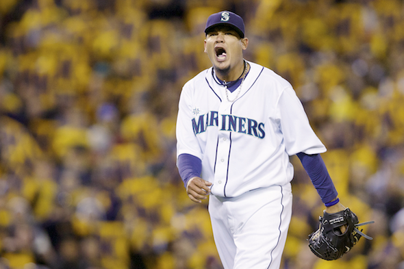 Felix Hernandez will make his third stab at career win No. 100 when the Mariners play the second of two against the Detroit Tigers Wednesday. / Drew Sellers, Sportspress Northwest