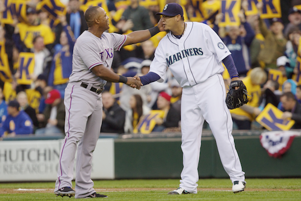 Former teammate and now Texas Rangers third baseman Adrian Beltre had two hits and a handshake from Felix Hernandez Thursday night. / Drew Sellers, Sportspress Northwest