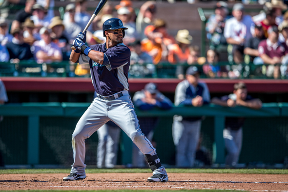 Franklin Gutierrez has had a good first week of the season, but his health is just  one of many mysteries among the 2013 Mariners. / Drew McKenzie, Sportspress Northwest
