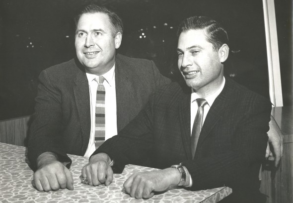 Soriano, left, is shown here with Pilots General Manager Marvin Milkes, who famously purchased Jim Bouton from the Yankees. That didn't stop Bouton from excoriating Milkes in Ball Four. / David Eskenazi Collection