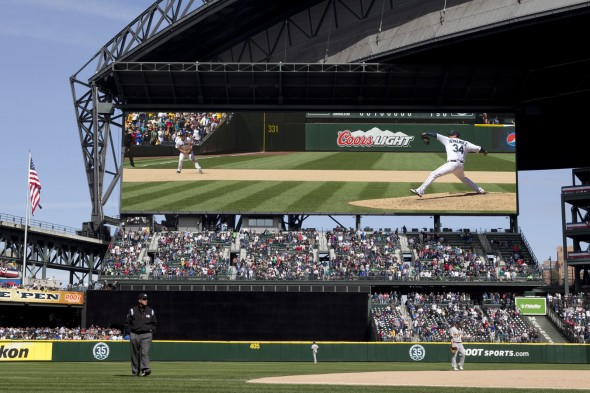 Many Seattle fans will get their first look at the giant video screen Monday when the Mariners play their home opener against the Houston Astros. / Seattle Mariners