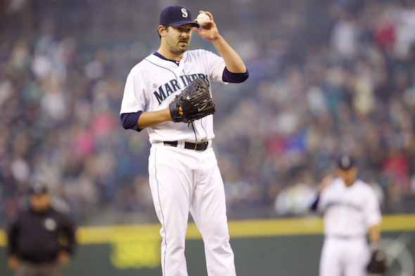 "Joe Saunders, nicknamed ""Safeco Joe,"" is 8-0 in the facility with a 0.81 ERA. He goes against the Oakland Athletics Sunday. / Drew Sellers, Sportspress Northwest"