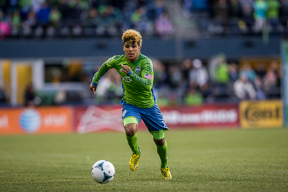 DeAndre Yedlin, forced to miss Seattle's last match while serving a red card suspension, returns to the team for Saturday's match against the San Jose Earthquakes. / Drew McKenzie, Sportspress Northwest