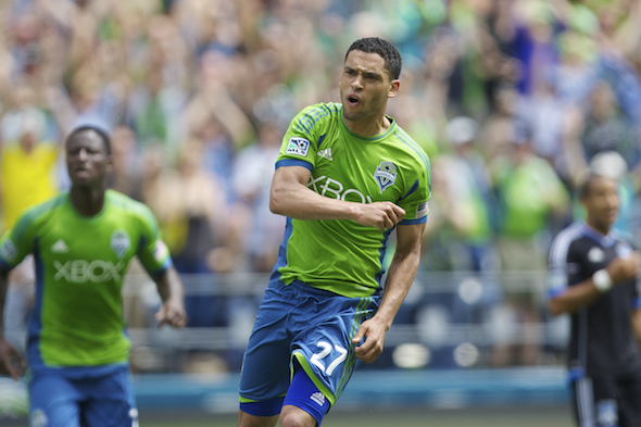 Lamar Neagle celebrates his two-goal game for the Sounders in a 4-0 win over San Jose Saturday afternoon at the Clink. / Drew Sellers, Sportspress Northwest