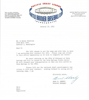 This is a letter from Rainiers General Manager Earl Sheely offering Chorlton a contract for the x season. / David Eskenazi Collection