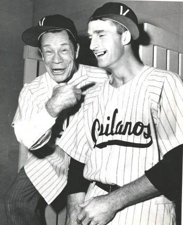 Chorlton is shown here with famous comedian Joe E. Brown in 1954 in what proved to be Chorlton's final season in professional baseball. / David Eskenazi Collection