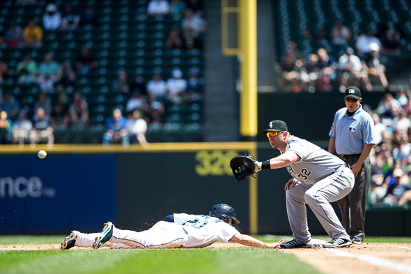 Jeremy Bonder (32), covering first, will make his xth start for the Mariners Sunday when they and the Athletics conclude a three-game series. / Drew Sellers, Sportspress Northwest