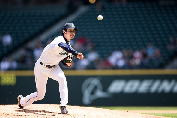 Hisashi Iwakuma was again brilliant, but his eight-inning shutout Wednesday went unsupported by the Mariners' offense. / Drew McKenzie, Sportspress Northwest