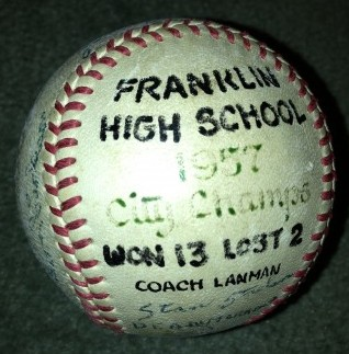 This is an autographed baseball from Franklin High's 1957 City Championship team. / David Eskenazi Collection