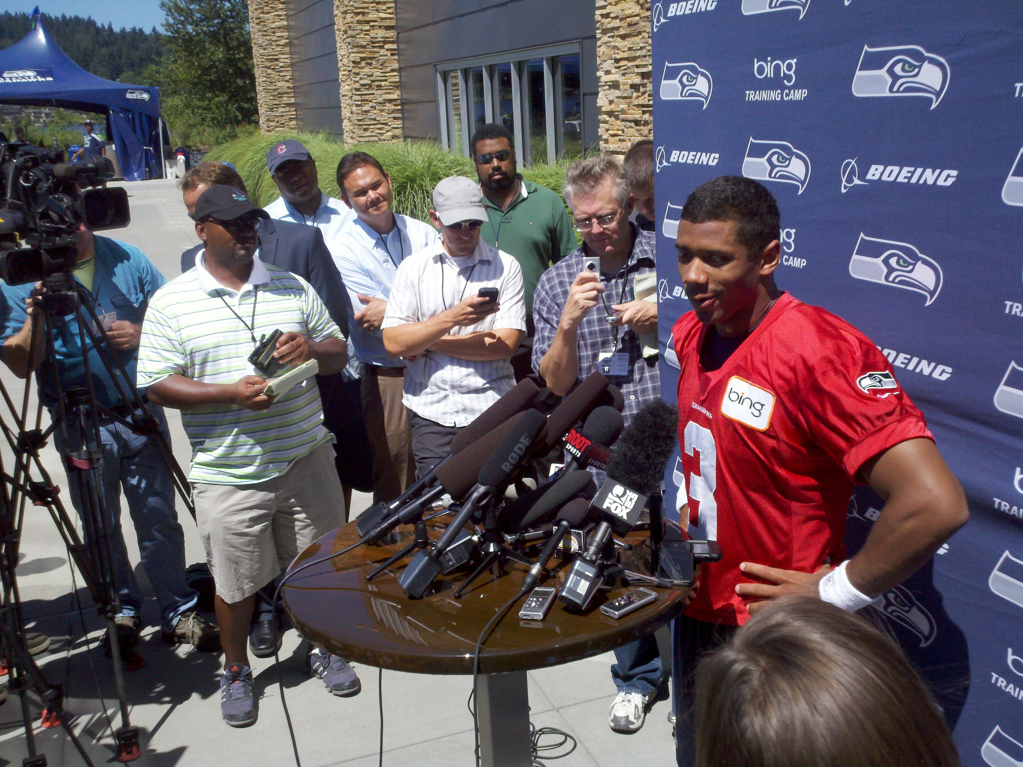 Quarterback Russell Wilson spoke at the VMAC after the Seahawks finished up their first practice of the season.