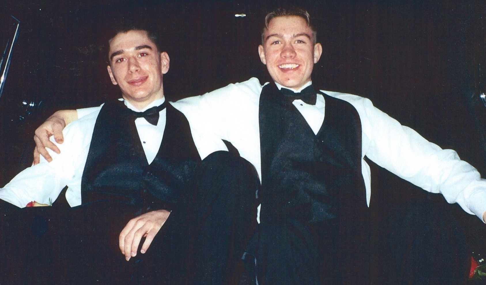 Geik Baxter, left, and Mark Hilde the night of the prom at Edmonds-Woodway High School. / Baxter amily collection