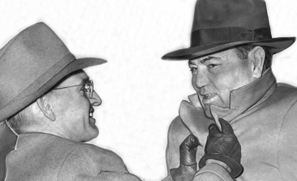 "Royal Bougham, left, shown with boxing champion Jack Dempsey, gave Franklin High its ""Quaker"" nickname. / David Eskenazi Collection"