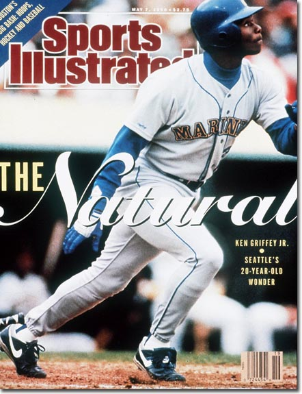 "Griffey had just turned 20 years old when he made the cover of Sports Illustrated, described by the magazine in its head line as ""The Natural."""