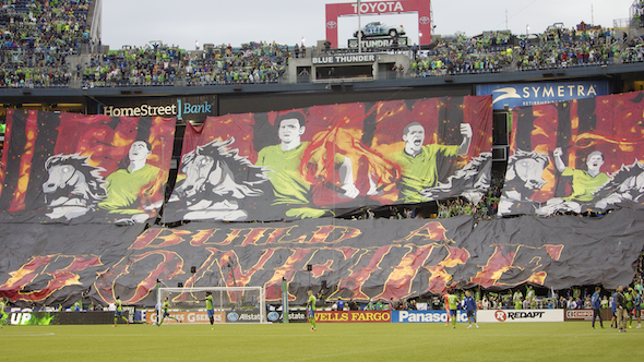 Sounders fans draped an enormous tifo across the south end zone prior to Sunday night's match.
