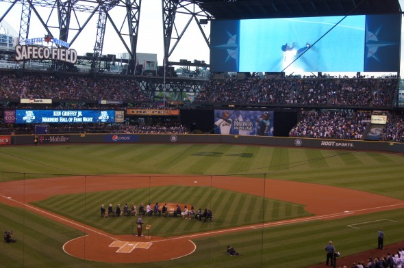 The full panorama at Safeco Field Saturday night when Ken Griffey Jr. entered the Mariners Hall of Fame. / Scott Johnson photograph