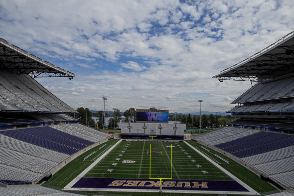 The Husky Stadium stage is set for the Mostly California Bowl Friday. / Drew McKenzie, Sportspress Northwest
