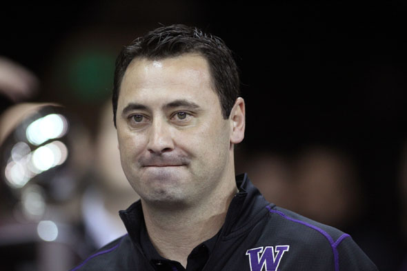 University of Washington coach Steve Sarkisian feels confident that his Husky football team has the depth needed for Saturday's season opener against Boise State. / Drew McKenzie