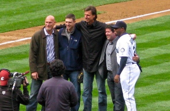 Five of the seven members of the Mariners Hall of Fame gather at Safeco Field. From left, Jay Buhner, Dan Wilson, Randy Johnson, Edgar Martinez and Ken Griffey Jr. / David Eskenazi Collection
