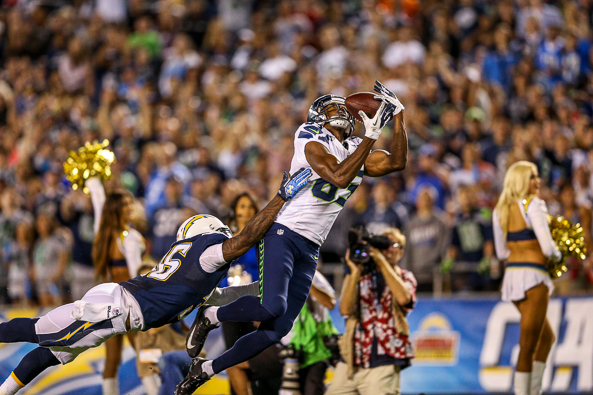 Seahawks newcomer Stephen Williams made a big impression Thursday night with grabs of two long passes from Tarvaris Jackson. / Drew McKenzie, Sportspress Northwest