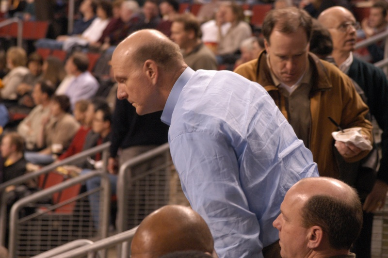Steve Ballmer was a fixture for years at Sonics games at KeyArena. / Wiki Commons