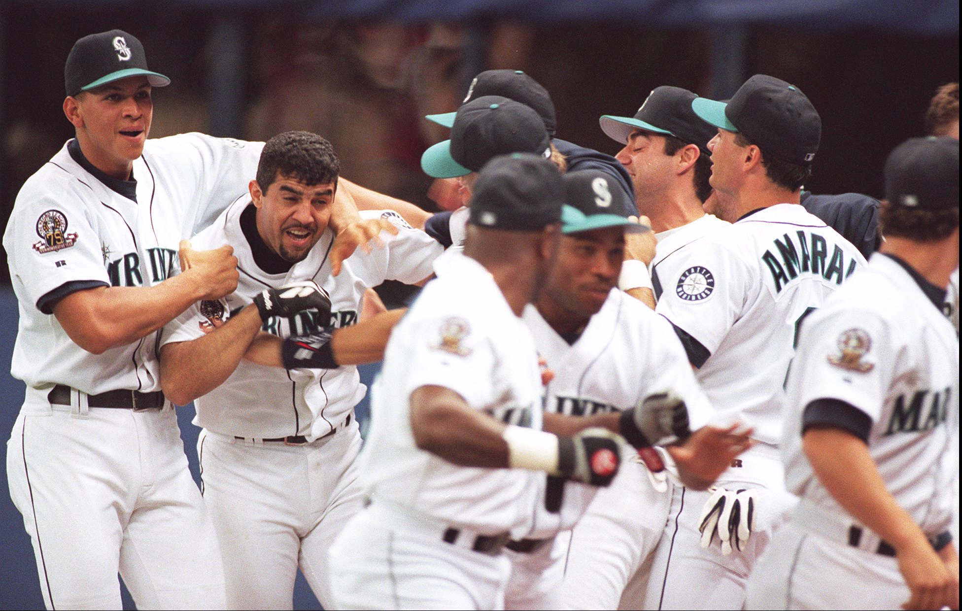 AlexRodriguez, in happier times with the Mariners in the 1995 one-game playoff against California when Luis Sojo was the hero. / Seattle Mariners