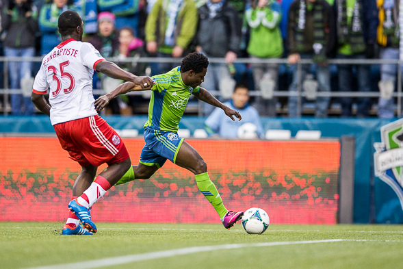 Obafemi Martins and the Sounders play host to the Chicago Fire Saturday night at CenturyLink Field. / Drew Sellers, Sportspress Northwest