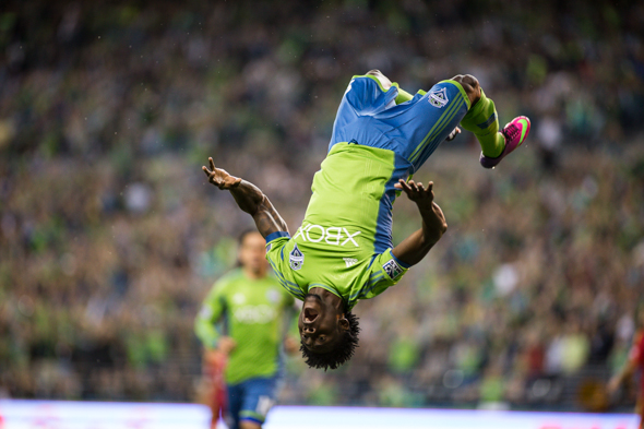 After scoring his eighth goal of the season in the third minute, F Obafemi Martins looked more like an acrobat than a star on the hottest team in the MLS. / Drew McKenzie