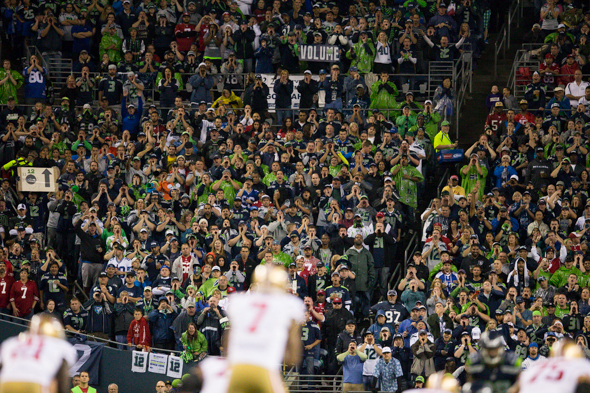 The racket by Seahawks fans was the object of disdain by some 49ers fans. / Drew McKenzie, Sportspress Northwest