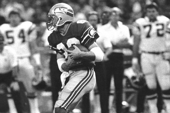 Steve Largent caught six passes for 127 yards, with a long of 53, in Seattle's 31-28 win over the Atlanta Falcons on Monday Night Football Oct. 29, 1979. / David Eskenazi Collection