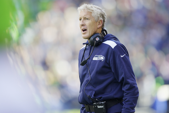 Pete Carroll's Seahawks fell from the ranks of the undefeated Sunday, losing 34-28 to Andrew Luck and the Indianapolis Colts at Lucas Stadium. / Drew Sellers, Sportspress Northwest