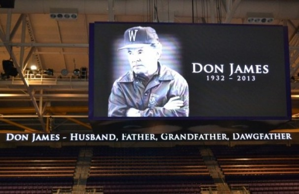 The video screen at Alaska Airlines Arena Sunday acknowledged former University of Washington football coach Don James, who died Oct. 20 from the effects of pancreatic cancer.