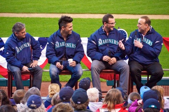 Dave Valle, who has done a lot of work on Mariners telecasts in recent years, is shown here interviewing, left to right, Rick Rizzs, Bradon League and Casper Wells. / flickr.com