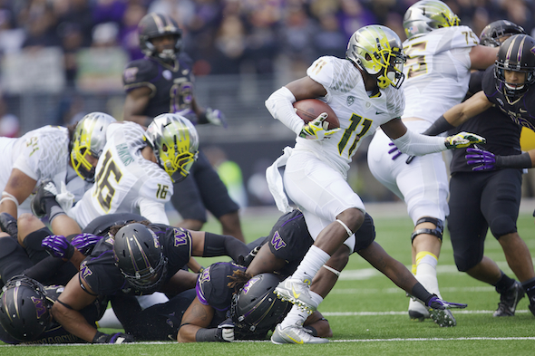 The Huskies defense saw way too much of the heels of Bralon Addison, who had eight receptions for 157 yards and two touchdowns. / Drew Sellers, Sportspress NW