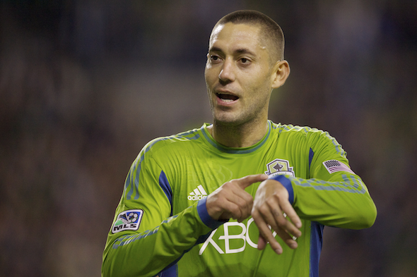 After his score in the ??, Clint Dempsey suggests its about time -- after 590 scoreless minutes as a Sounder. / Drew Sellers, Sportspress Northwest
