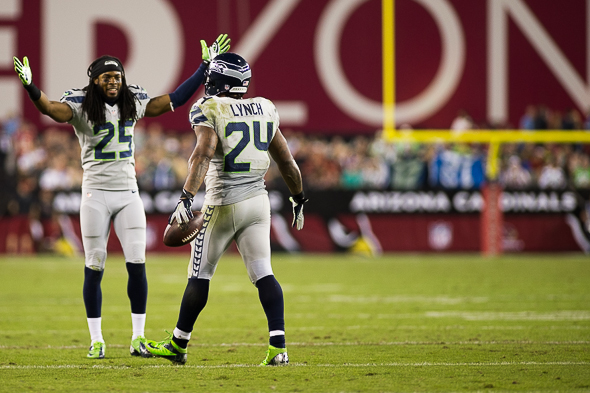 Cornerback Richard Sherman helped Seatte's D hold Arizona quarterback Carson Palmer to 30 of 45 for 258 yards, one touchdown and a pick. / Drew McKenzie