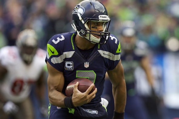 Seahawks QB Russell Wilson finished 19 of 26 for 217 yards, two touchdowns and two interceptions. / Drew Sellers