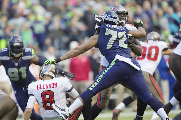 DE/DT Michael Bennett had three tackles, including one sack, Sunday against the Bucs. / Drew Sellers