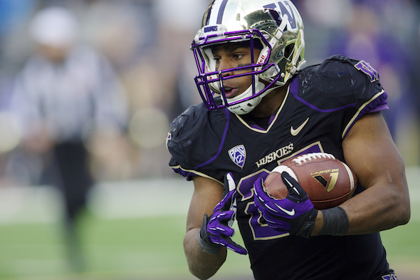 A future NFL Draft pick, Bishop Sankey may be playing his last game as a Husky Dec. 27 in the Fight Hunger Bowl. / Sportspress Northwest