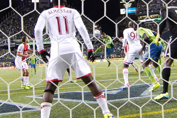 Clint Dempsey had several good looks at the Portland goal, to no avail. / Drew McKenzie, Sportspress Northwest