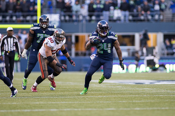 In 2013, Marshawn Lynch has 167 carries for 726 yards and seven touchdowns (one passing, six rushing.) / Drew McKenzie