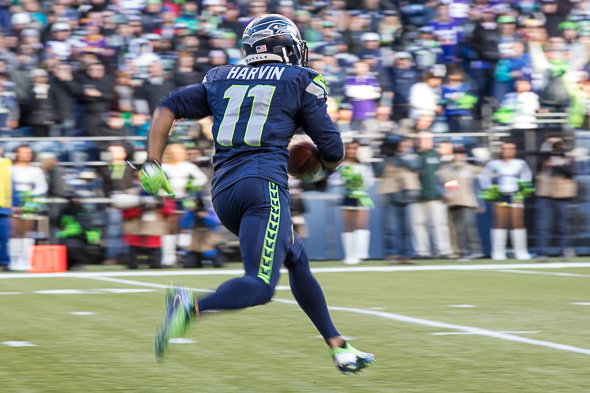 Percy Harvin, making his Seattle debut, had a 17-yard reception and a 58-yard kickoff return in Seattle's 41-20 victory over the Minnesota Vikings Sunday at CenturyLink Field. / Drew McKenzie, Sportspress Northwest