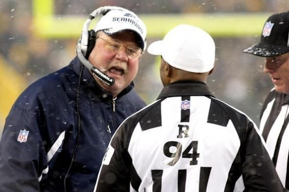 Former Seahawks coach Mike Holmgren jaws at an official for making the wrong call during Super Bowl XL in Detroit. / Sportspress Northwest file