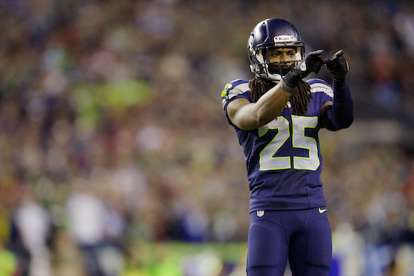 Richard Sherman never met an audience he didn't like. / Drew McKenzie, Sportspress Northwest